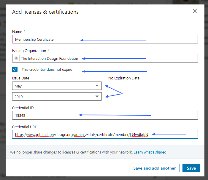 LinkedIn: Add license and certifications