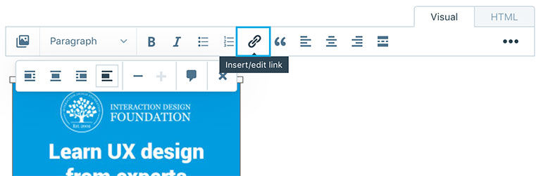 Add link button in the post section on Wordpress