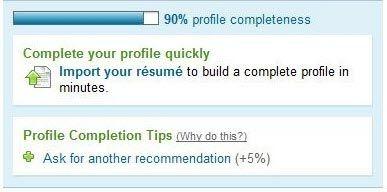 LinkedIn profile completeness