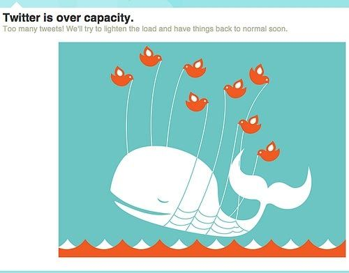 Twitter fail whale. Their website is down, and instead of being annoyed, we smile.