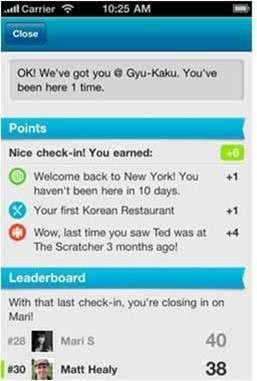 Foursquare gives points for each check-in