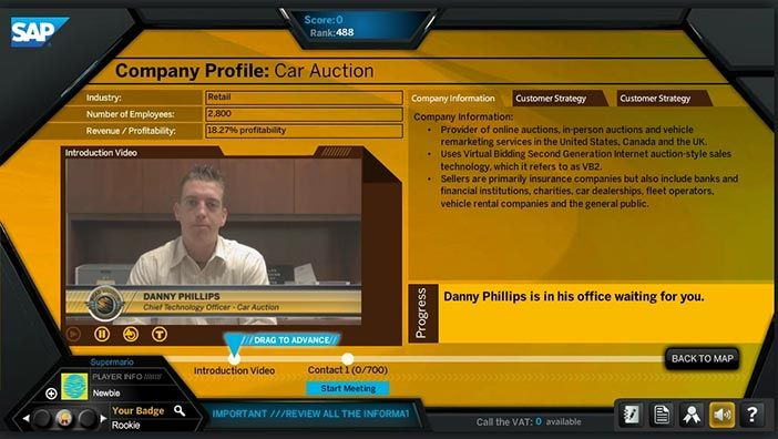 SAP Roadwarrior screen showing the simulated sales negotiation with the CTO of a car auctioning company.