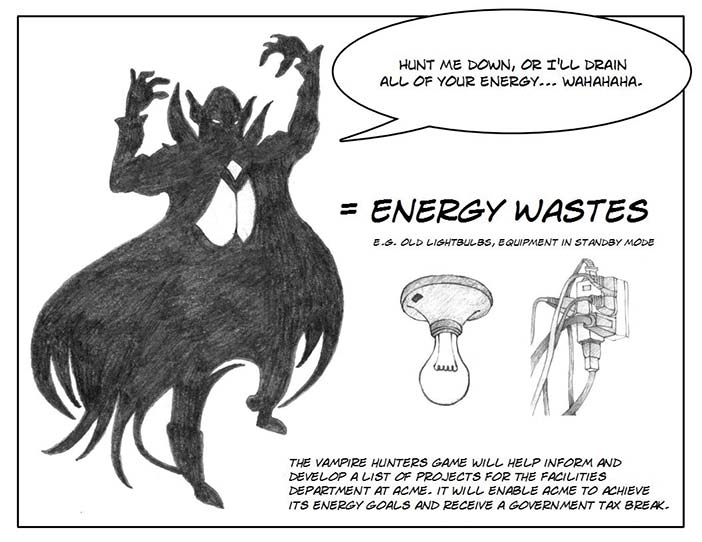 Vampire Hunter storyboard - Vampires are energy suckers.