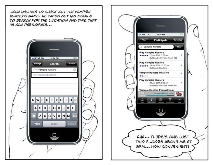 Vampire Hunter storyboard - mobile interactions.