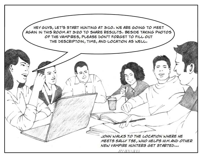 Vampire Hunter storyboard - the real community and the virtual community.