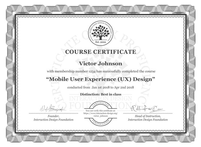 Course Certificate Example