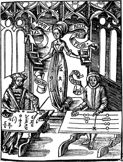 "Woodcut of a ""Calculating-Table"" by Gregor Reisch, 1508. The woodcut shows Arithmetica instructing an algorist and an abacist"