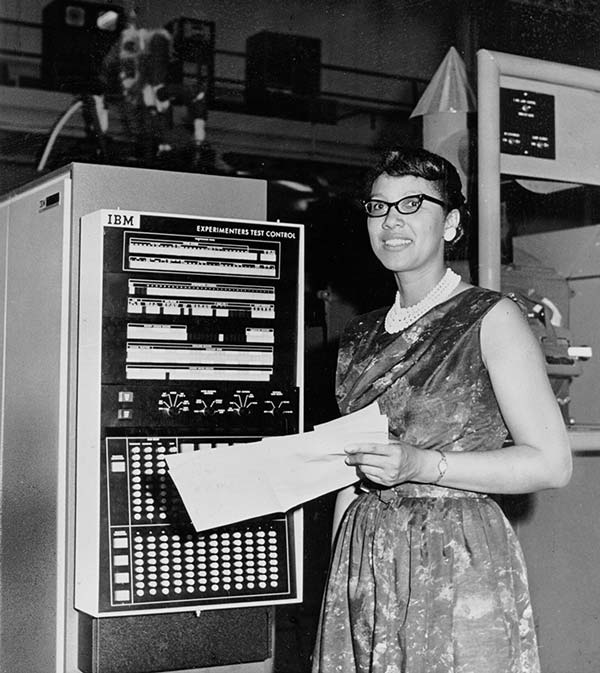 "A female ""computer"": Melba Roy headed the group of NASA mathematicians who were known as ""computers."" They tracked the Echo satellites. Roy's computations"