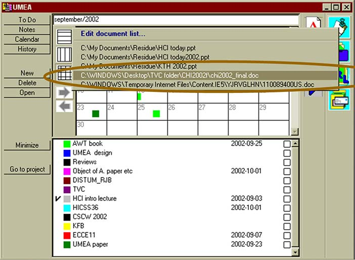 User interface of the UMEA system (Kaptelinin, 2003)