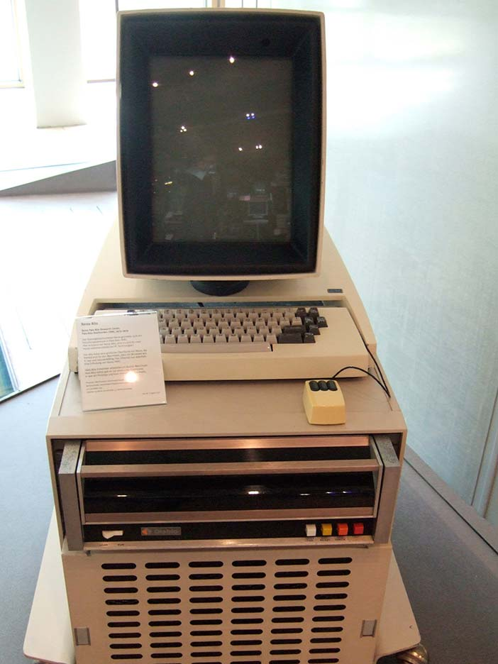 "The Xerox Alto, introduced in 1973, but never commercially produced. The Alto was the predecessor of the Xerox Star, an early ""personal computer"", introduced in 1981"