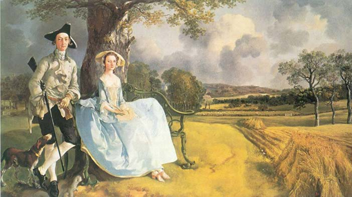 Mr. and Mrs. Andrews, oil on canvas, Thomas Gainsborough, 1750. The National Gallery, London, UK