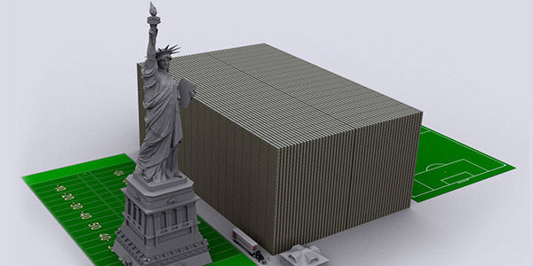 The relative size of the U.S. debt if it reaches 15 trillion dollars. The large rectangular block represents stacks of one hundred dollar bills