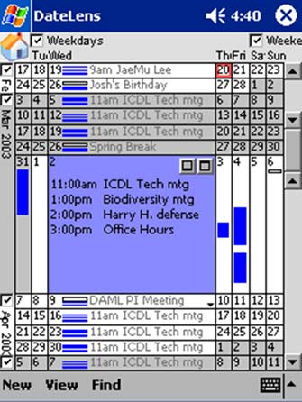 Use of the Bifocal Display concept in a PDA-based calendar (Bederson et al. 2004)