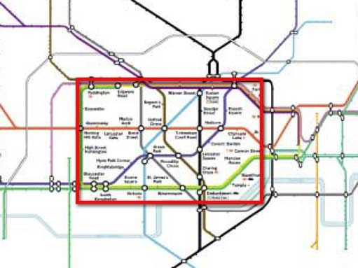 A bifocal representation of the London Underground map, showing the central area in full detail, while retaining the context of the entire network. It is important to note the continuity of the lines