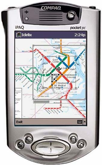 Distorted map on a PDA, showing the continuity of transportation links