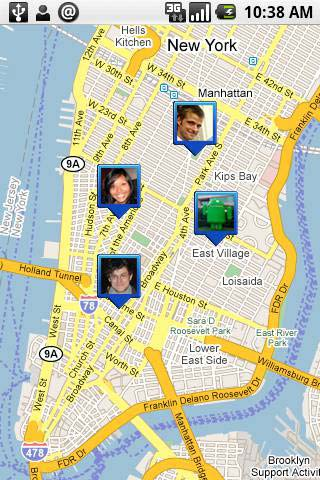 Google Latitude (initial release February 5, 2009) shows your friends on a map--as long as they've agreed to share their location.