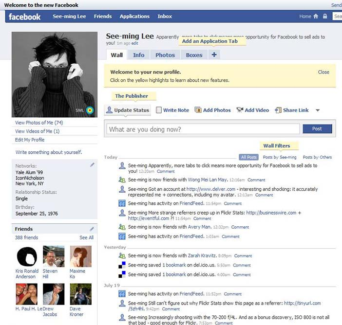 A user profile in the Facebook social networking site as it looked in 2010