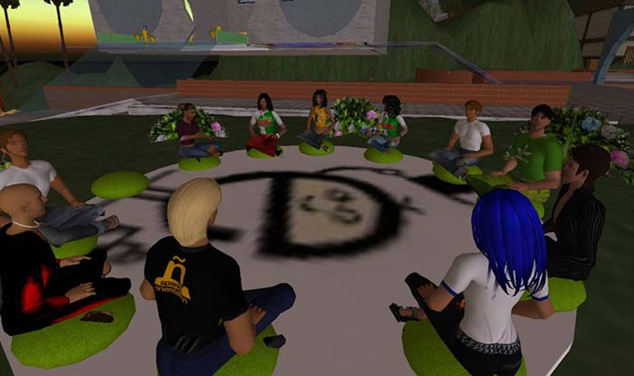 A group meeting in Second Life - circa 2010.
