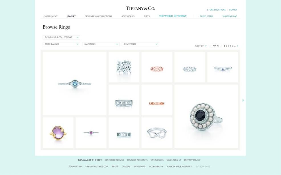 A Sample Web page from Tiffany and Co.