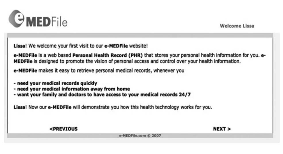 Screenshot for an Online Medical Website (in Lee and LaRose, 2011)