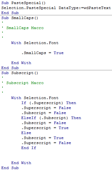 Using a code editor to create three Microsoft Word text-manipulation macros that are linked (through a separate screen) to keyboard shortcuts; for example, the first macro has a single instruction ind