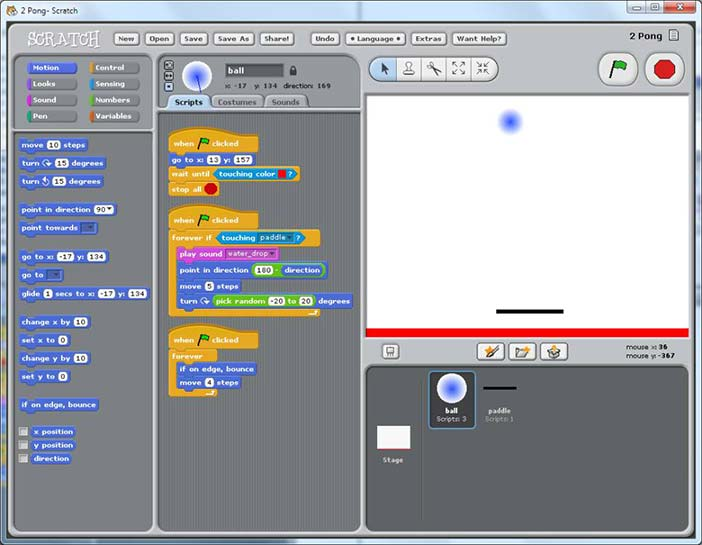Visual interface for editing the three scripts for the ball in a 'pong' game animation. The programmer lays out sprites on the right; clicking a sprite brings up its scripts for editing in t