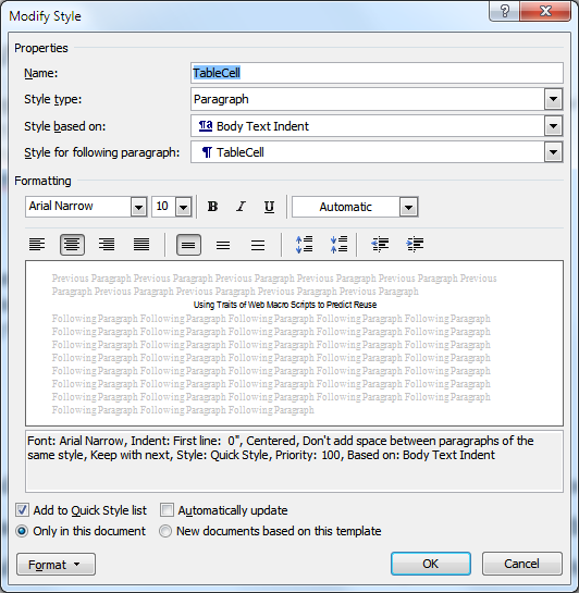 User interface in Microsoft Word for creating a style, which is a set of formatting instructions that will be applied to multiple labeled regions in the document