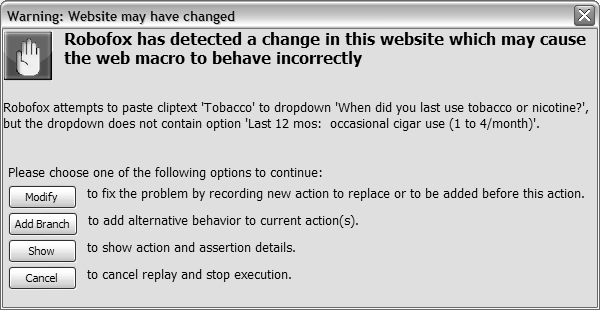 Popup window asking user to indicate whether and how a Robofox web macro should be modified due to a violated assertion