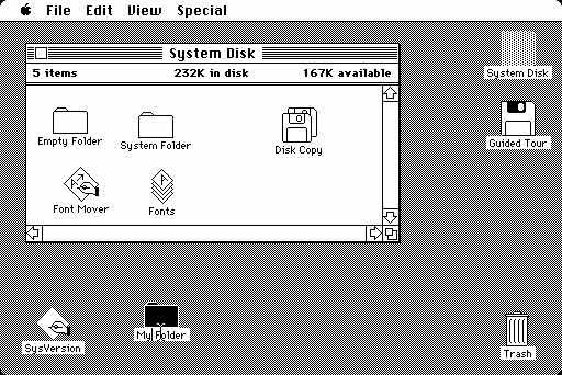 The early Macintosh desktop metaphor: Icons scattered on the desktop depict documents and functions, which can be selected and accessed (as System Disk in the example)