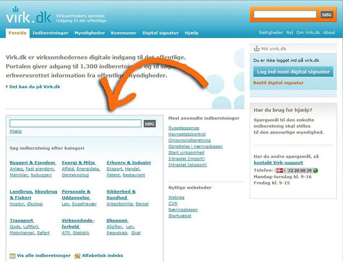 The front page has an additional search field for Dorte, and focuses on reporting (2008). The latest version of the virk.dk portal has yet again an unclear focus on the front page as it includes both