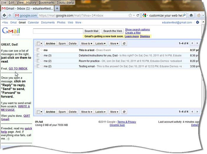 "Gmail inbox page modified with ""Customize your Web"""
