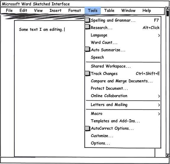 A sketched version of Microsoft鈥檚 Word interface unfolding the Tools menu