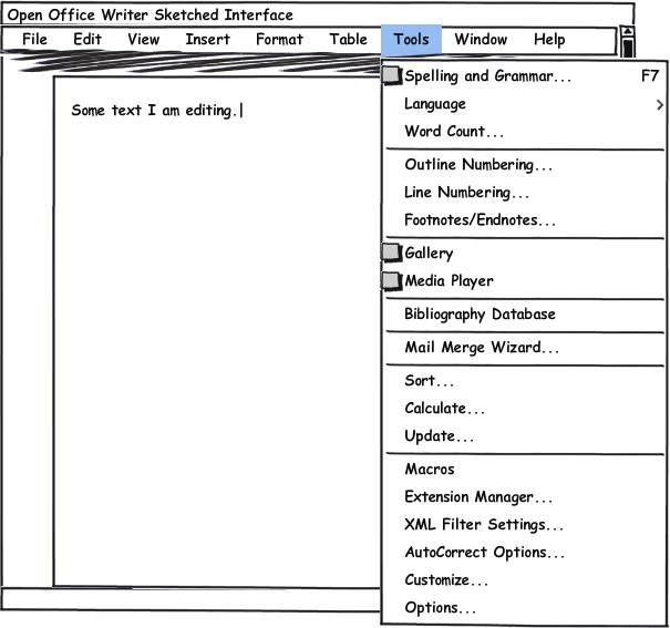 A sketched version of Open Office鈥檚 Writer interface unfolding the Tools menu