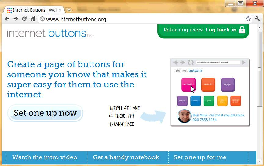 "Internet Buttons"" entry page"