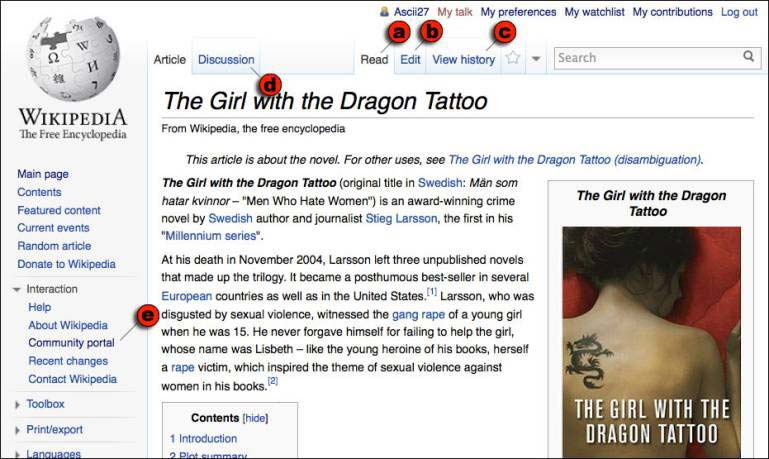 The Wikipedia article page for The Girl with the Dragon Tattoo. Most visitors come (a) to read, but they can also (b) edit the article, (c) view its history, or (d) read its discussion page. Those wis