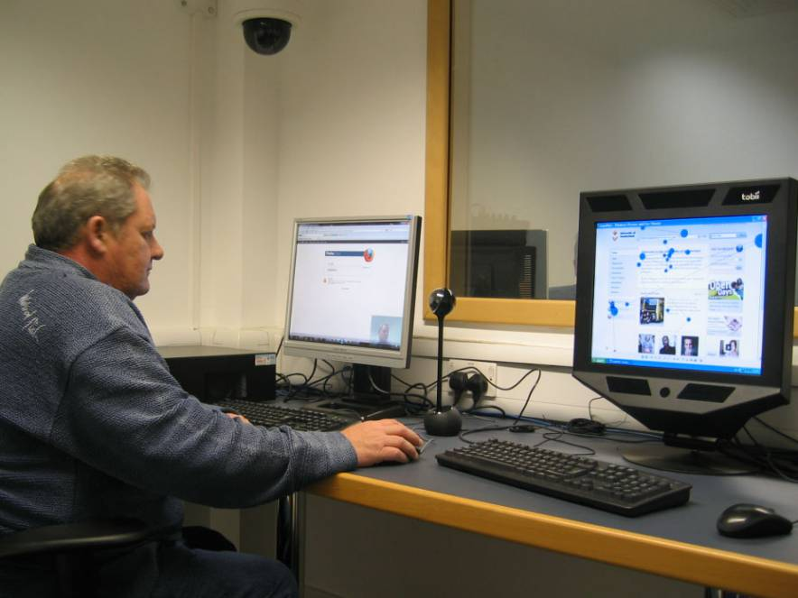 Usability Expert at Work: Alan Woolrych at the University of Sunderland using a minimal Mobile Usability Lab setup of webcam with audio recording plus recording of PC screen and sound, complemented by