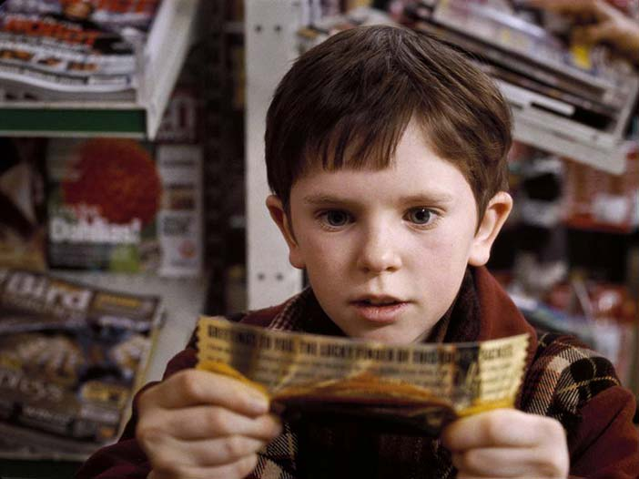 Charlie Bucket discovers his Golden Ticket