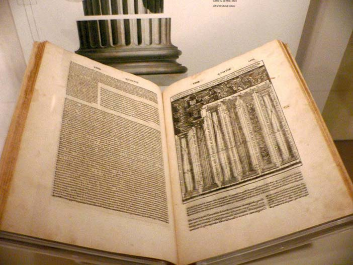 Italian translation from 1521 of De Architectura Libri Decem (The Ten Books on Architecture) by Marcus Vitruvius Pollio. Preserved in the Smithsonian Museum of American History