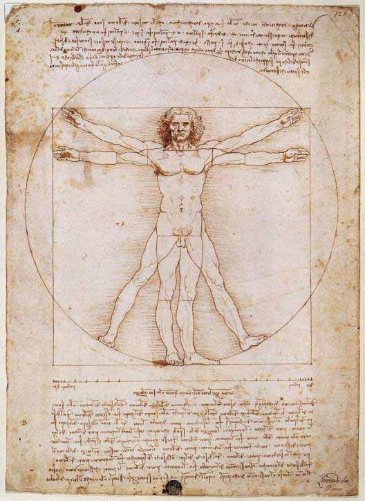 The Vitruvian Man drawing was created by Leonardo da Vinci circa 1487 based on the work of Vitruvius. By empirically measuring and calculating the proportions of the human body, Vitruvius may also be