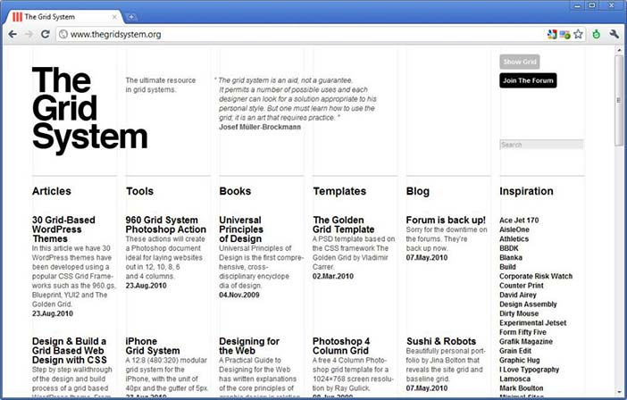 Contemporary example from the grid system website