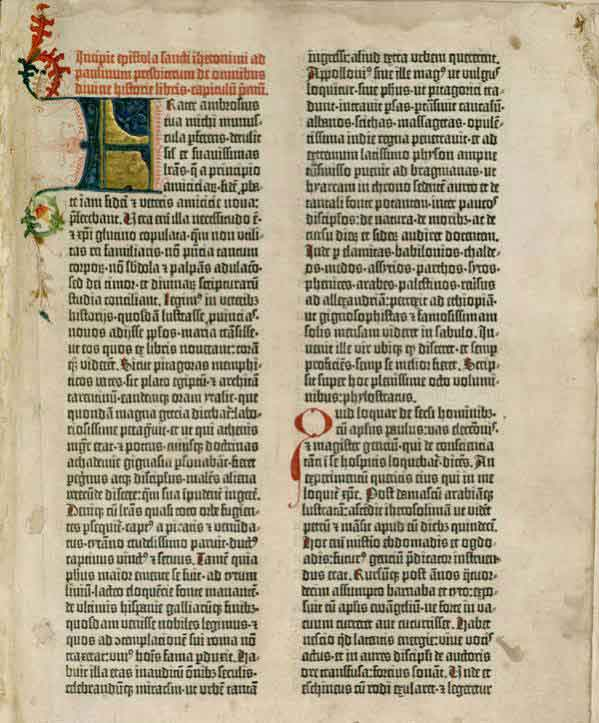 Tabular layout of the first page of the Gutenberg Bible: Volume 1, Old Testament, Epistle of St. Jerome. The Gutenberg Bible was printed by Johannes Gutenberg, in Mainz, Germany in the 1450s