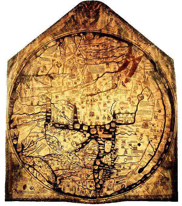 The Hereford Mappa Mundi of 1300 organised places according to their approximate direction and distance from Jerusalem