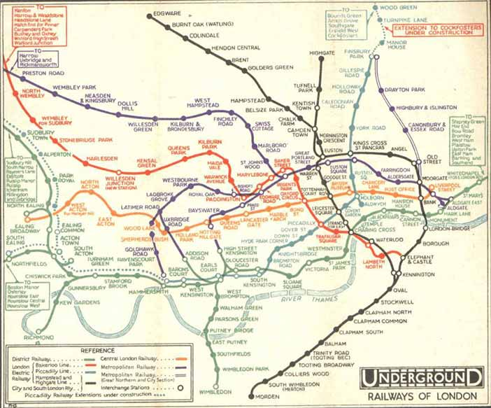Map of the London Underground network, as it was printed before the design of Beck's diagram (1932)