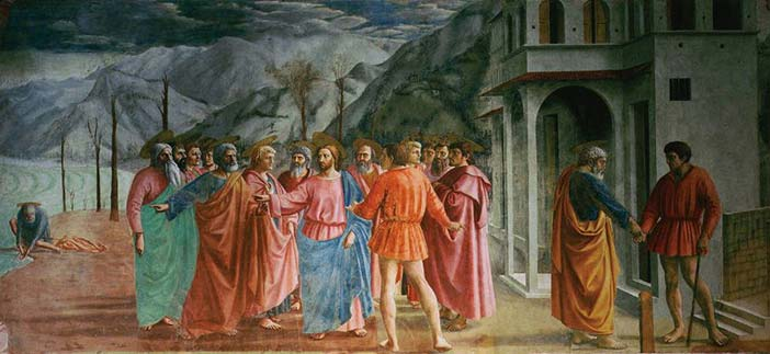 Masaccio's mature work The Tribute Money, demonstrating linear perspective