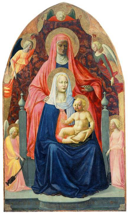 Example of an early work by Masaccio, demonstrating a 'perspective' in which relative size shows symbolic importance