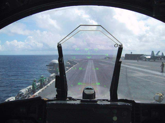 Photograph of the Head-Up Display taken by a pilot on a McDonnell Douglas F/A-18 Hornet