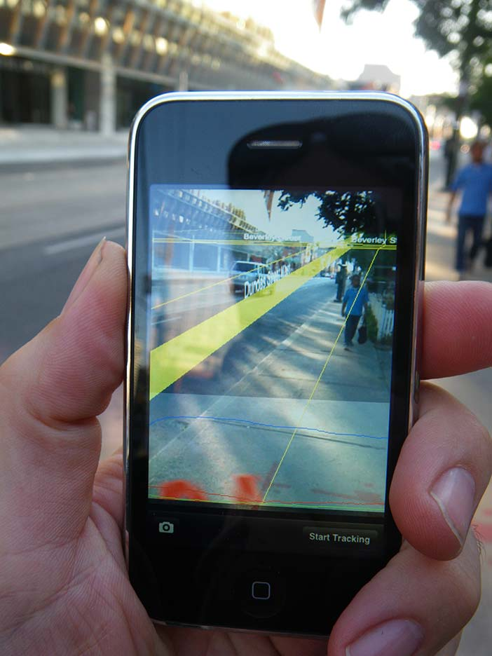 The glogger.mobi application: Augmented reality 'lined up' with reality