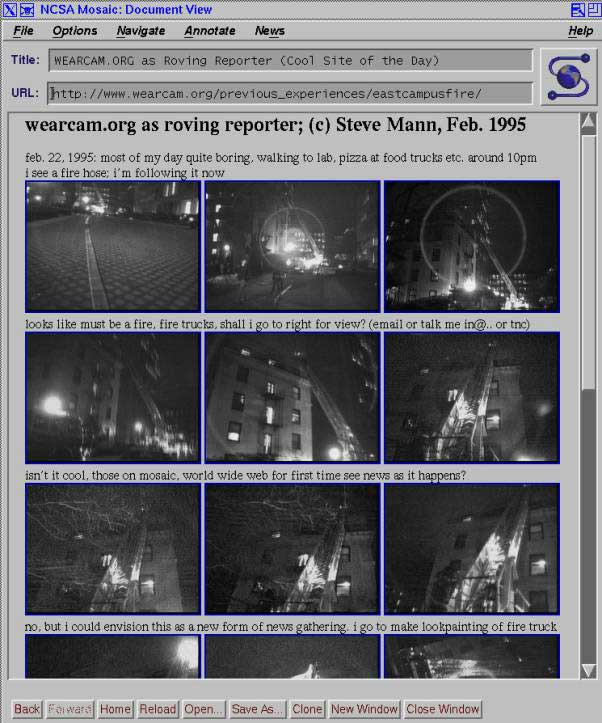 Screenshot from Steve Mann's Wearable Wireless Webcam experiment from 1994-1996. Real-time webcast of everyday life resulted in the serendipitous capture of a newsworthy incident. Interestin