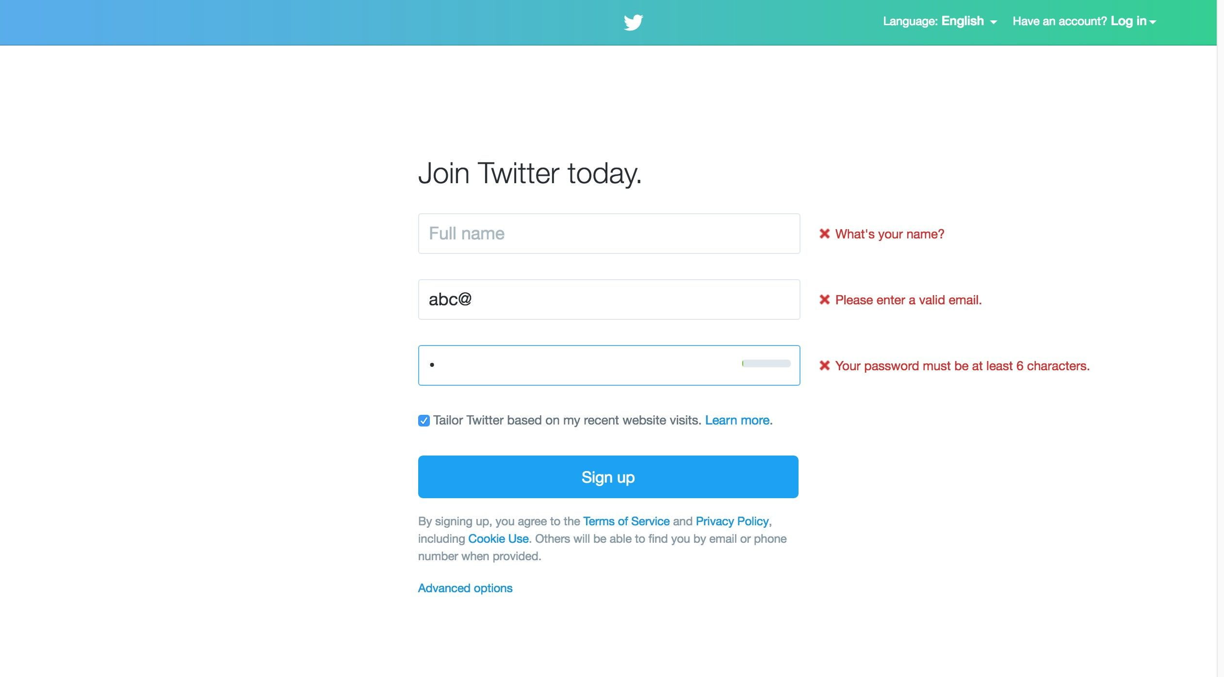 The interface of Twitter's login screen that shows error messages beside the form fields.
