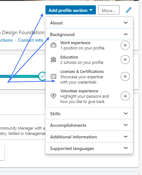 Add profile section dropdown